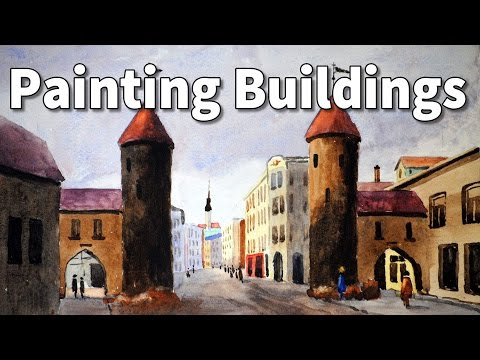 how to paint buildings in watercolor time lapse tutorial