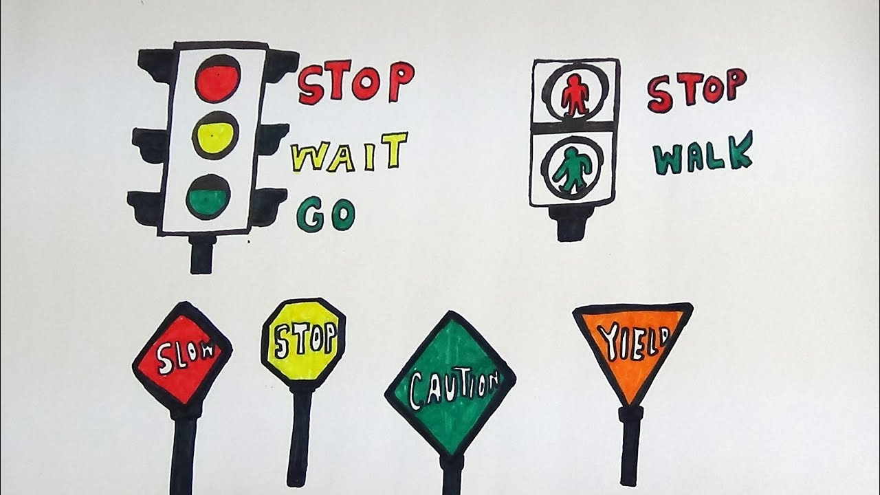 DRAW AND COLOR TRAFFIC SIGNS AND ROAD SIGNS FOR KIDS -TRAFFIC SIGNS ...