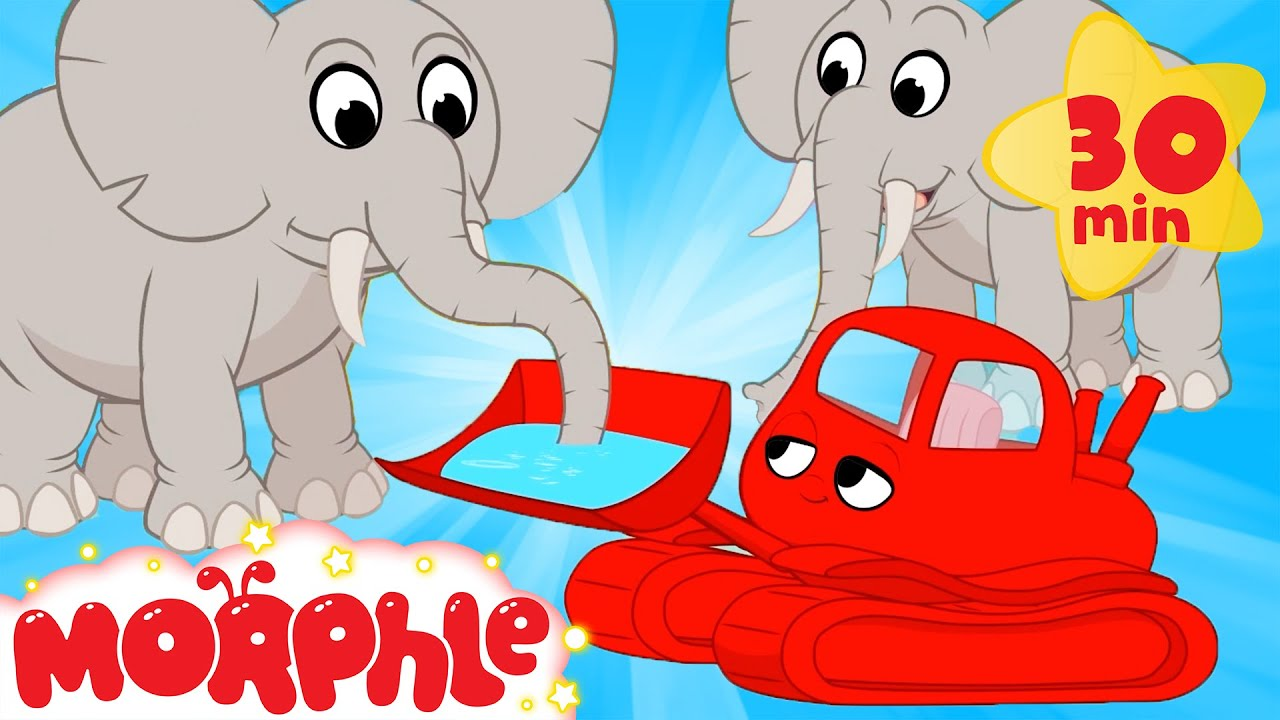 My Red Bulldozer and the Elephants - Mila and Morphle   Cartoons for Kids