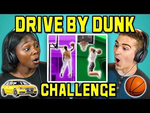 COLLEGE KIDS REACT TO DRIVE BY DUNK CHALLENGE #DriveByDunkChallenge