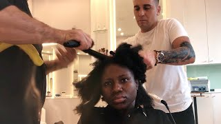 😱 I WENT TO Professional Hair Salon In Turkey To Get my NATURAL HAIR Done