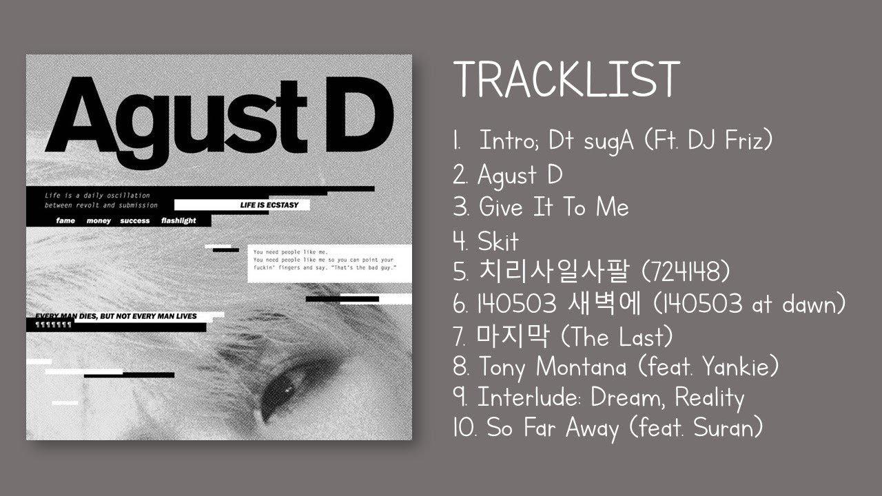 Full Album Suga 민윤기 Agust D Mixtape Hq Youtube