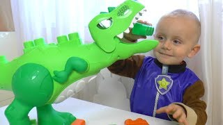 Paw Patrol & Dinosaurs T - Rex Toys Unboxing for kids by Funny Timur