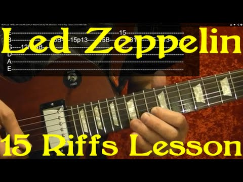 LED ZEPPELIN Guitar Lesson - 15 Best Riffs! Jimmy Page