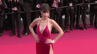 Bella Hadid stuns in Red on the red carpet for the Premiere of La Fille Inconnue in Cannes