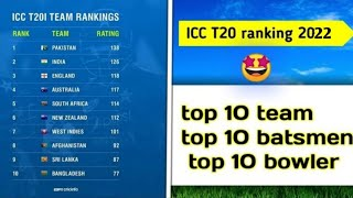 ICC T20 World Cup 2021 top 10 team ranking top ten batsman ranking and top 10 batsman