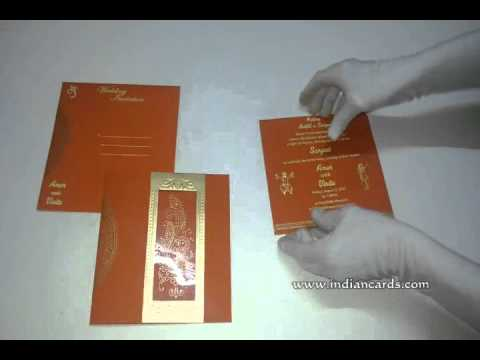 W-4710J, Orange Color, Handmade Paper, Wedding Invitations Design