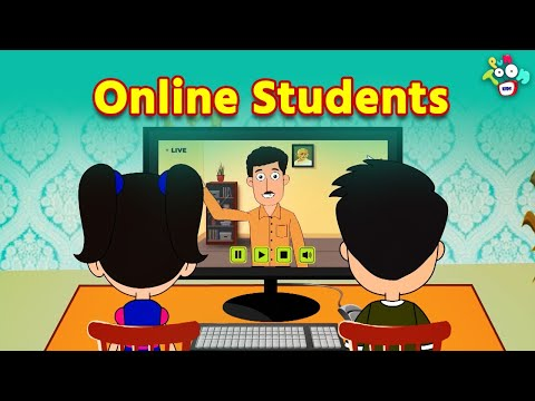 Online Students | Students During Online Classes | Animated | English Cartoon | Moral Stories