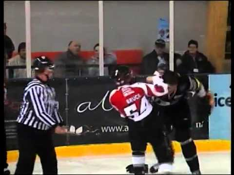 Kyle Bruce vs Chris McAllister EIHL fight 26-2-09