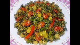 Green Beans Aloo Ki Sabzi - Barboti Chingri Alu - Borboti Alo Chingri - চিংড়ি দিয়ে বরবটি ভাজি