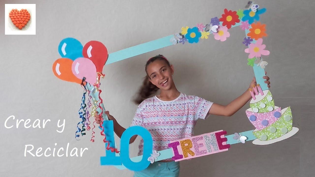 Marco photocall para fiestas DIY con reciclaje 1ª parte - YouTube