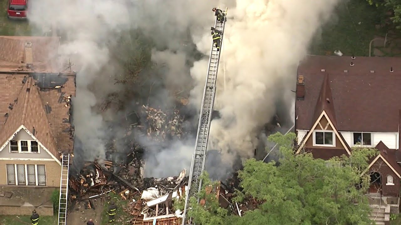 Aerial video: House explosion on Detroit's east side