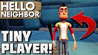 TINY PLAYER, IN SPACE GLITCH, SHRINKING ITEMS!! | Hello Neighbor Gameplay Alpha 2