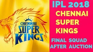 VIVO IPL 2018: Chennai Super Kings All Players List || CSK Final Squad For IPL 2018 After Auction