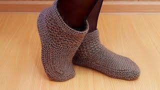 Тапочки носки спицами для любого размера Василиса