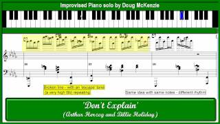 'Don't Explain' - solo  jazz piano tutorial