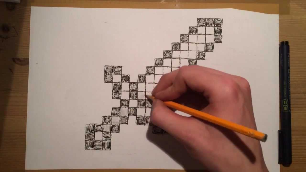 How to draw Minecraft Sword (speed-drawing) - YouTube