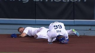 STL@LAD: Puig hangs on during collision with Pederson