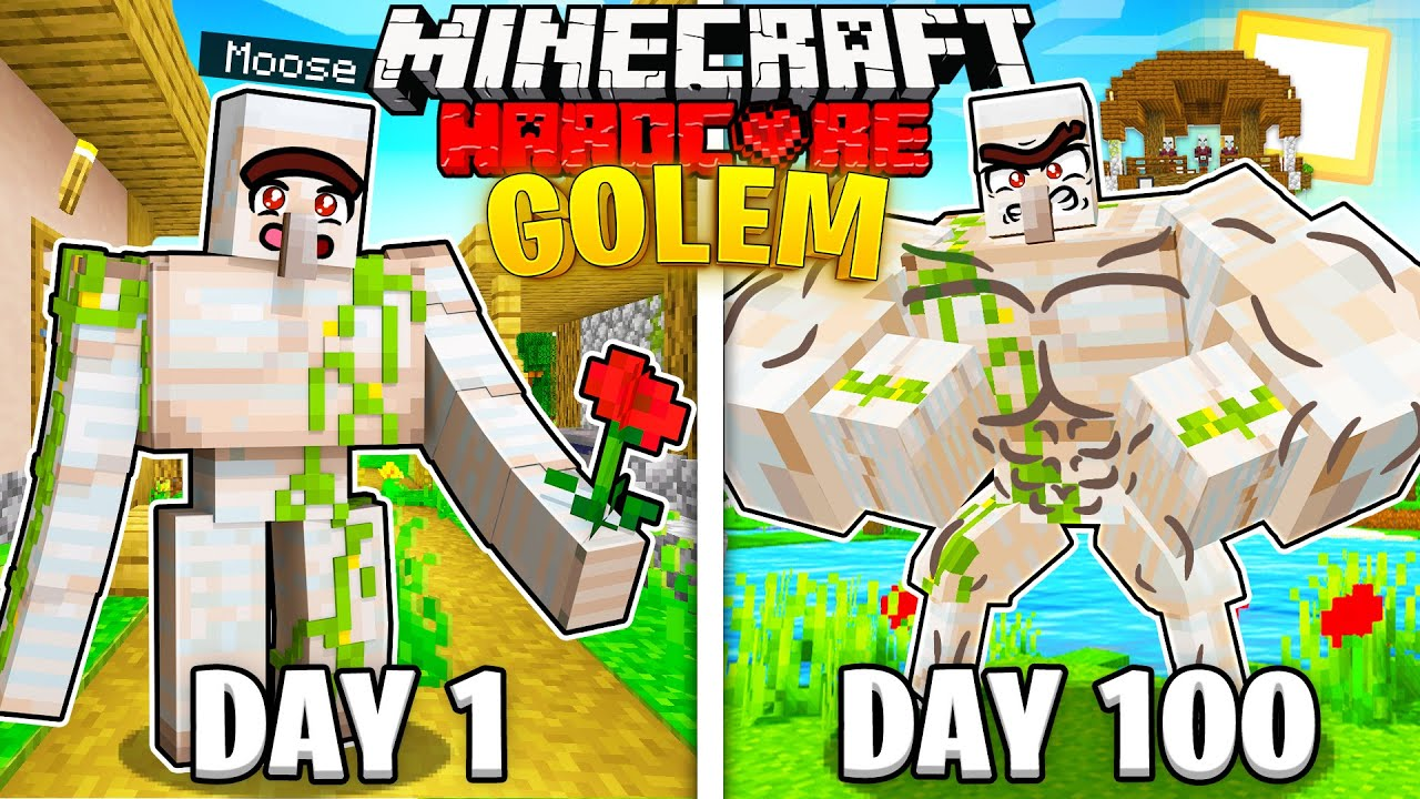 I Survived 100 Days AS A IRON GOLEM in Hardcore Minecraft