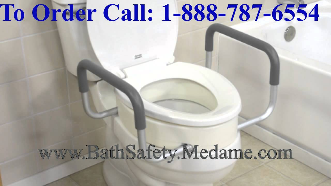 Toilet Seat Riser With Removable Arms For Elderly And