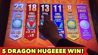 ⭐️5 DRAGON GRAND HUGE WIN⭐️MAX BET $8.80 DANCING DRUM SLOT BONUS | Las Vegas Aria Casino Slot