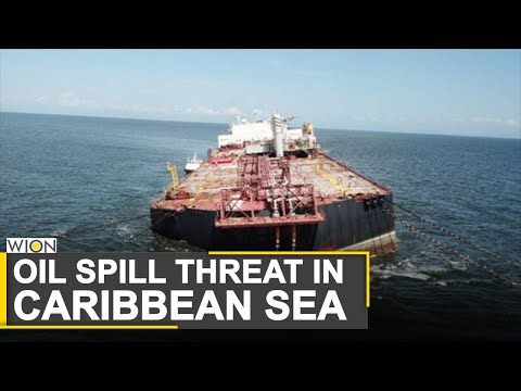 Tilting oil tanker on brink of sinking | Oil crisis unfolding in Gulf of Paria | Caribbean Sea