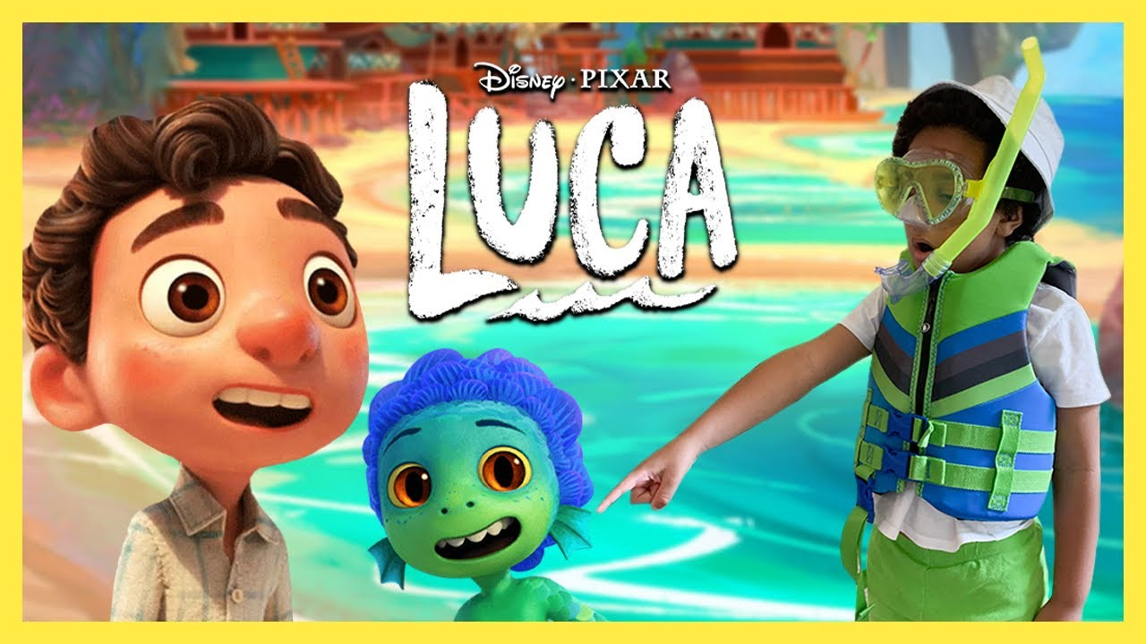 Disney Pixar's Luca The Movie. Playing with Luca Toys at the Beach. Bryson FINDS A SEA MONSTER!