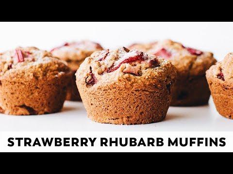 Strawberry Rhubarb Muffins // vegan, gluten-free, oil-free