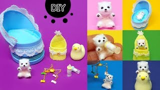 DIY miniature animal - 6 Baby puppy set ! puppy , candle , baby bottle~ !