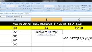 How To Convert Data Teaspoon To Fluid Ounce On Excel