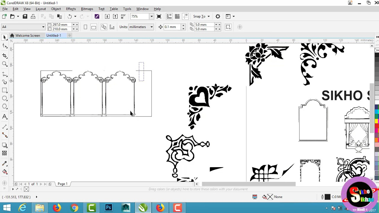 wedding card corner design clipart hindi video tutorial [ 1280 x 720 Pixel ]