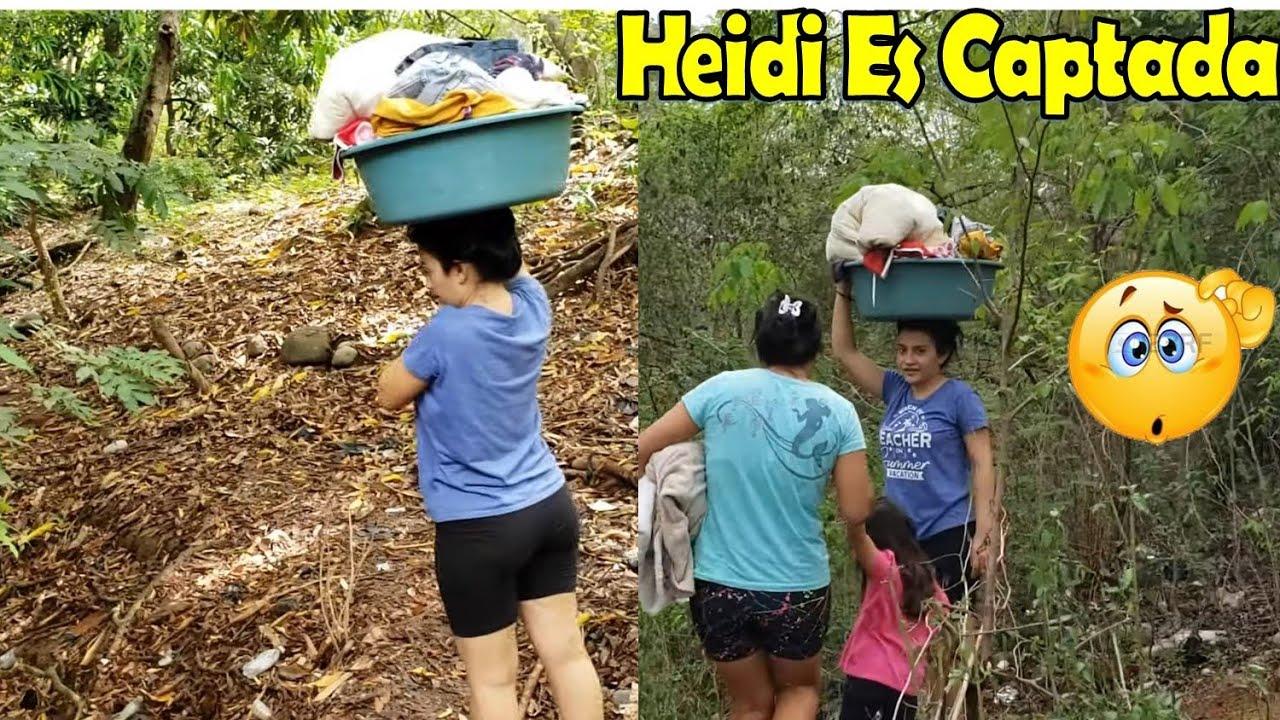 -Heidi Es Captada Camino Al Rio Muy Cargada De Ropa Sucia Para Lavarla😱-P1