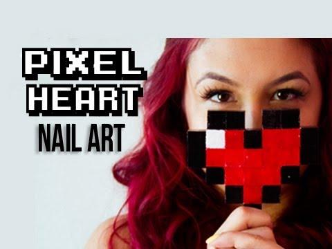pixel heart nail art  youtube
