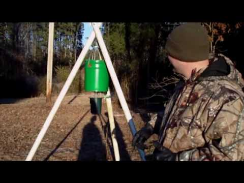Do it yourself tripod feeder youtube for How to build a deer feeder out of pvc pipe