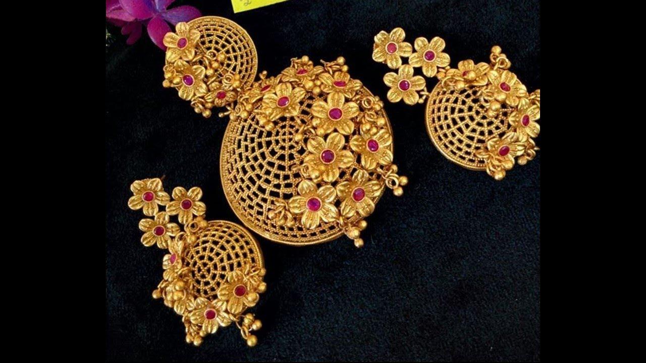 Light weight 22k gold pendant set design youtube light weight 22k gold pendant set design aloadofball Images