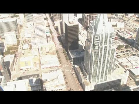 Aerial view of the Women's March in Austin