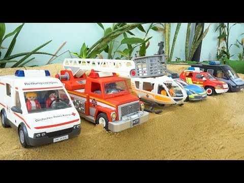 Learn Names Rescue Vehicles Unboxing Toy: Police Car | Fire Truck | Helicopter | Ambulance