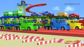 Wheels on the Bus race with loader trucks | bus race | kids | loader truck | car race | kiddiestv