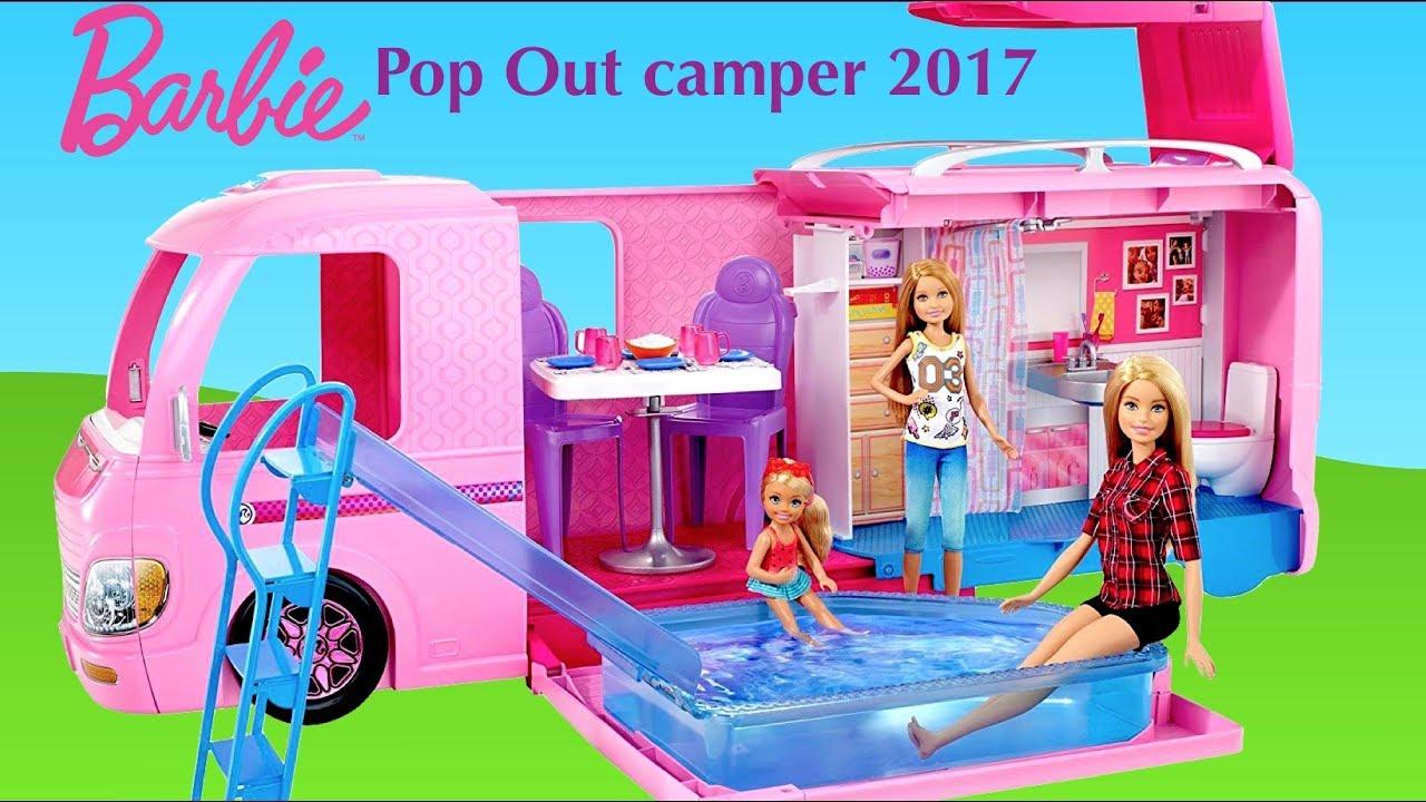 Barbie Pop Out Camper 2017 New Barbie Dolls Morning Routine In Dream Camper Van Youtube