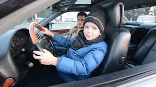 Ребенок за рулём Mercedes W140 CL600 V12 Coupe / Дима учится ездить / Тест-драйв