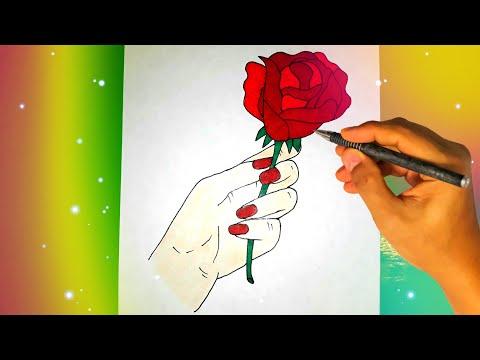 Как нарисовать розу в руке