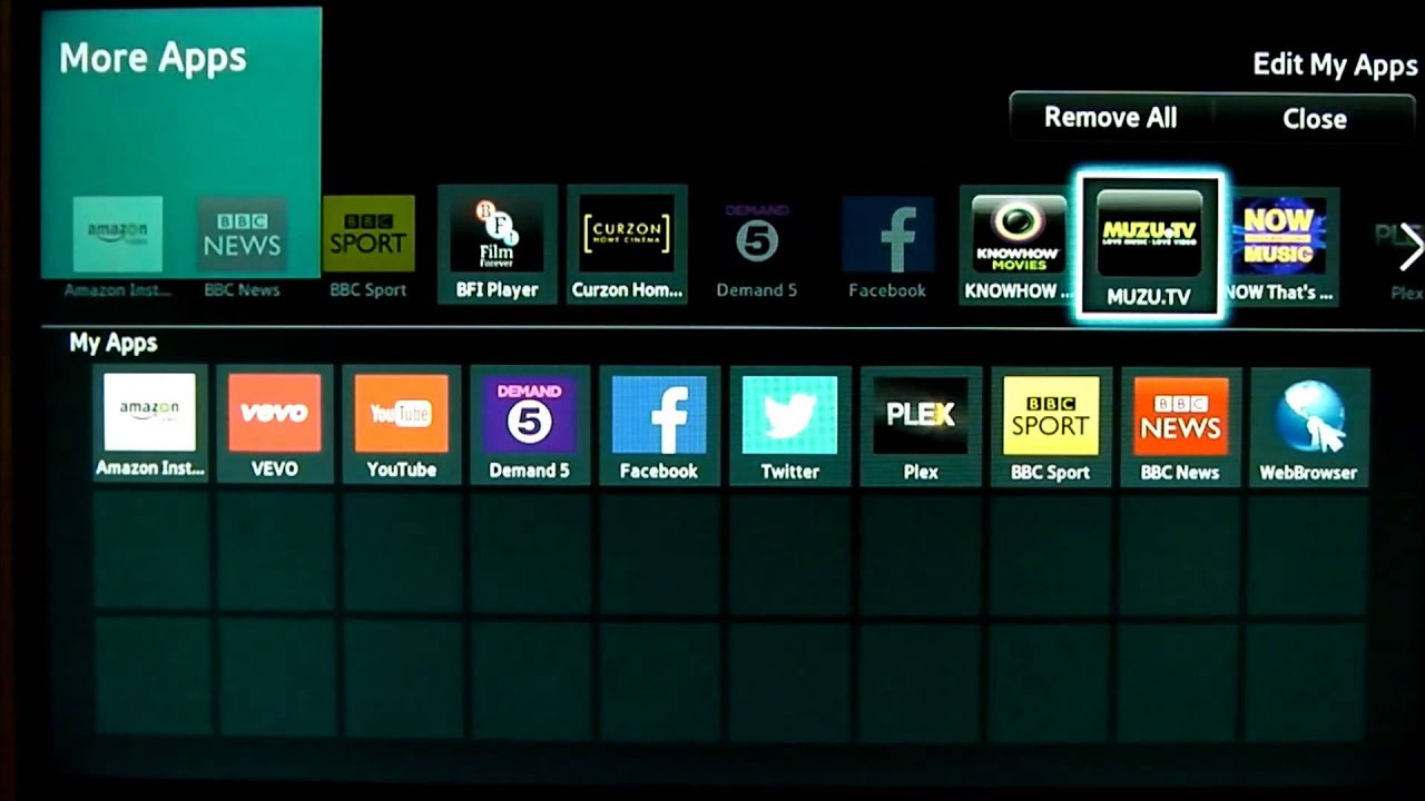 How to move add delete apps on Smarthub of a Samsung Smart TV - YouTube