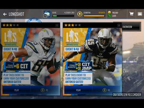 91 Longshot Antonio Gates+most feared hint? (Madden mobile)