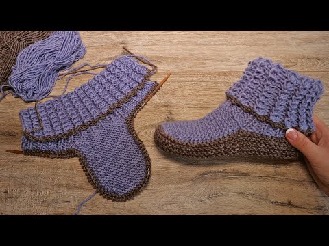 Домашние сапожки спицами   Homemade Knitted Slippers
