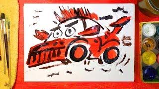 Рисуем Гоночную Машину | Как нарисовать Машину | Урок рисования для детей, Машинки Петрушки(Сегодня я рисую гоноку - красную гоночную машину. Урок рисования для детей - как нарисовать красками машину...., 2016-05-20T08:06:38.000Z)