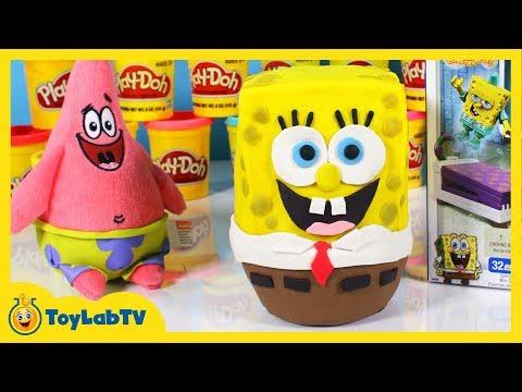 Giant Play Doh Spongebob Squarepants Surprise Egg with Mega Bloks Toys