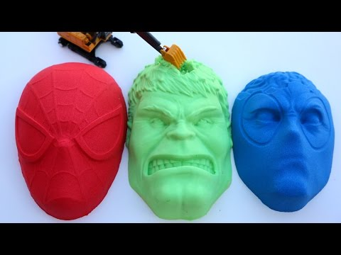 Kinetic Sand Hulk VS Spiderman VS DeadPool PJ Masks Kinetic Sand DIY Play Doh Learn Colors