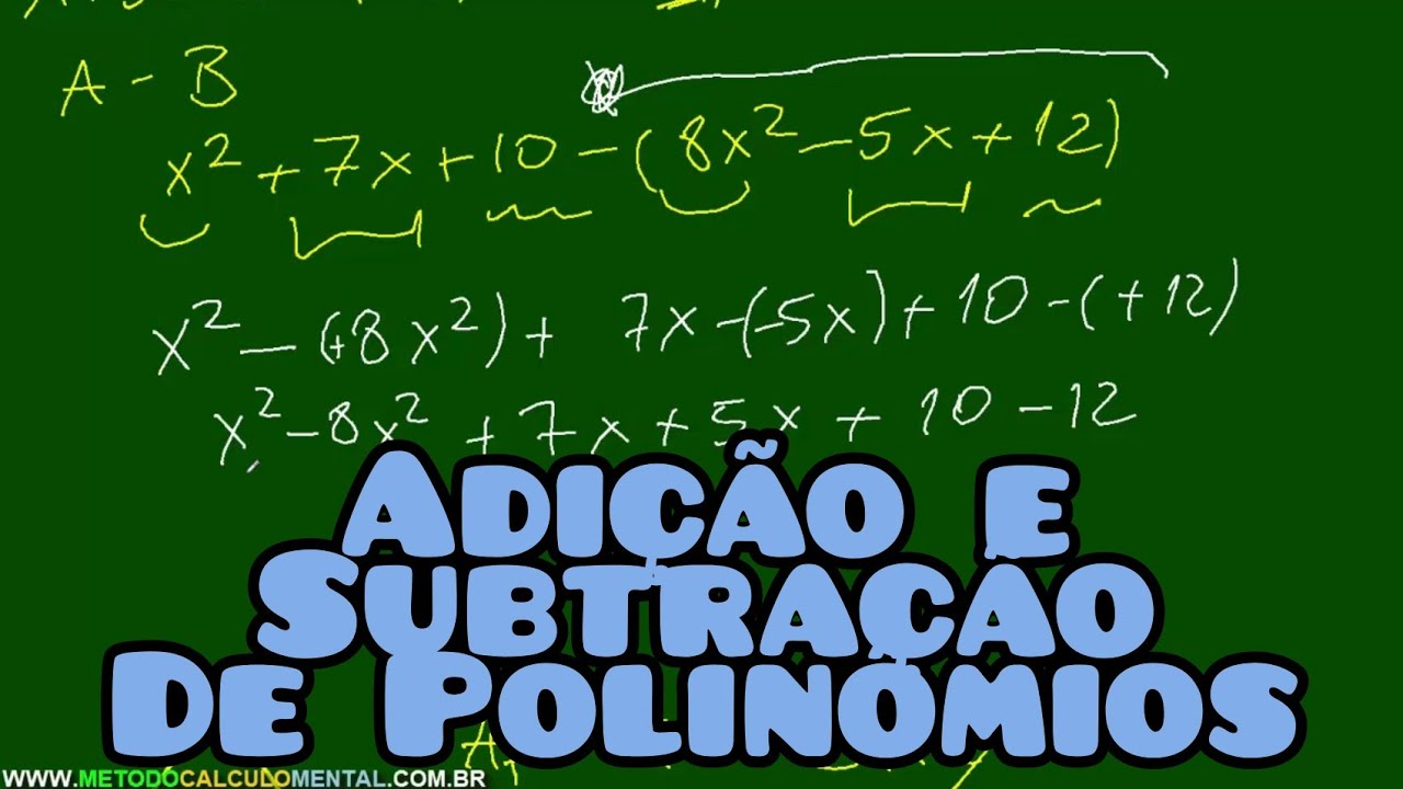 Adicao E Subtracao De Polinomios Exercicios Matematica Youtube