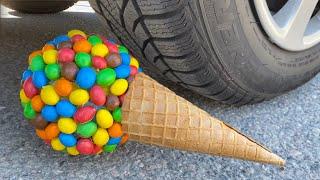 EXPERIMENT: Car vs M&M Icecream - Crushing Crunchy & Soft Things by Car!
