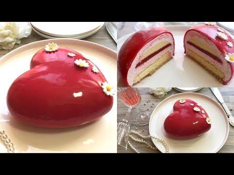 ❤️entremets-coeur-fraises-framboises-avec-glaçage-miroir-ultra-brillant